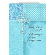 With God's Blessings On Your Baptism Aqua Greeting CardS