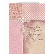 With God's Blessings On Your Baptism Soft Rose Greeting Card