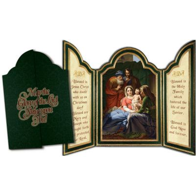 Holy Family with Grandparents Tri-fold Triptych Christmas Cards -  - TFC-1030