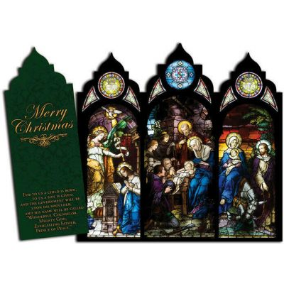 Nativity Stained Glass Tri-fold Triptych Christmas Cards -  - TFC-SG
