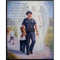 The Protector: Police Guardian Angel Wall Plaque w/Policeman's Prayer