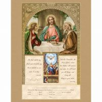 First Communion & Confirmation Certificate w/Gold Accents Unframed