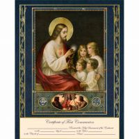 Traditional First Communion Certificate with Gold Accents Unframed
