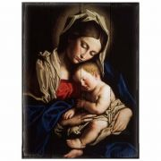 Madonna and Her Child Rustic Wood Plaque