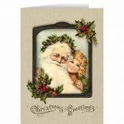 Vintage Santa with Girl Christmas Card