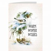 Warm Winter Wishes with Vintage Bird in Snow Christmas Card