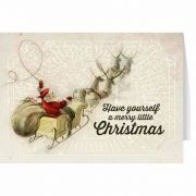 Vintage Santa and Sleigh with Reindeer Christmas Card