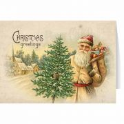 Vintage Santa Carrying Toys and Tree Christmas Card