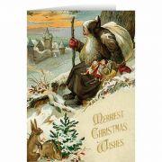 Vintage Santa Watching Over Town Christmas Card