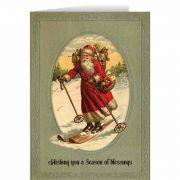 Vintage Santa Skiing Christmas Card
