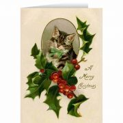 Vintage Kitten with Holly Christmas Card