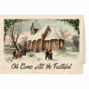 Vintage Church in Snow Christmas Cards