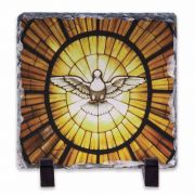 Stained Glass Dove Square Slate Tile