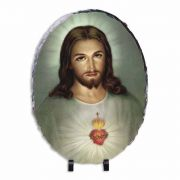 Traditional Sacred Heart of Jesus Oval Slate Tile