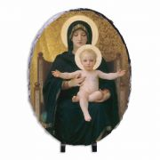 Virgin and Child Oval Slate Tile