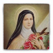 St. Therese of Lisieux Square Tumbled Stone Tile