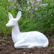Sitting Deer Fawn Fiber Stone Resin Indoor/Outdoor Statue/Sculpture