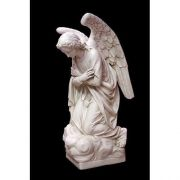 Adoration Kneeling Angel (Crossed) 56in. Fiberglass Outdoor Statue