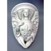 Angel With Fleur - De - Lis Shield - Fiberglass - Statue