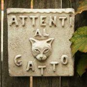 Beware Of Cat Plaque Fiber Stone Resin In/Outdoor Wall Mount Statue