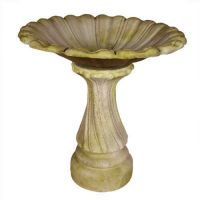 Blooming Birdbath Fiber Stone Resin Indoor/Outdoor Statue/Sculpture