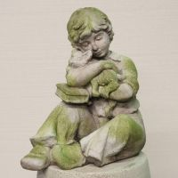 Boy w/Kitten & Book Fiber Stone Resin Outdoor Statue/Sculpture