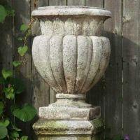 Carved Stadium Urn 20in. Fiberglass Indoor/Outdoor Garden Statue