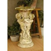 Cherub Putti & Fan Urn 20in. - Fiber Stone Resin - Outdoor Statue