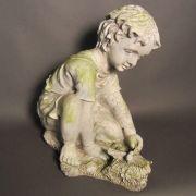 Child w/Dragonfly - Fiber Stone Resin - Indoor/Outdoor Garden Statue