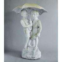Children w/Umbrella Fiber Stone Resin Indoor/Outdoor Statue/Sculpture