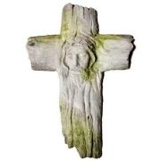 Christs Face On Wooden Cross Fiber Stone Resin Indoor/Outdoor Statue