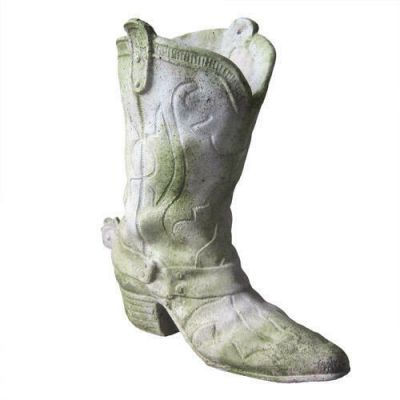 Cowboy Boot Small 9in. High - Fiber Stone Resin - Outdoor Statue -  - FS8878