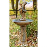 Cupid Birdbath 51in. (2 Pieces) - Fiber Stone Resin - Outdoor Statue