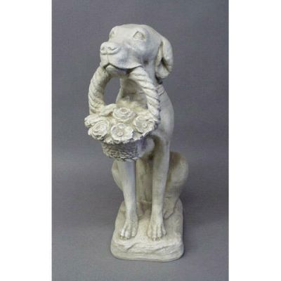 Dog With Flower Basket 24in. - Fiberglass - Outdoor Statue -  - F69743
