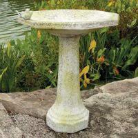 Eight Sided Birdbath w/Birds - Fiber Stone Resin - Outdoor Statue