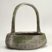 Farm Basket 19 Inch Fiber Stone Resin Indoor/Outdoor Statue/Sculpture