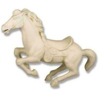 Galloping Hobby Horse 41in. Wide - Fiberglass Resin - Outdoor Statue