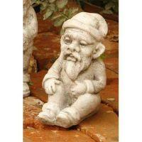 Gnome Sitting 8 In. Fiber Stone Resin Indoor/Outdoor Statue/Sculpture