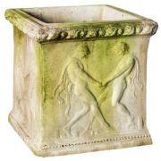 Grape Crushers Square Pot 15in. Fiber Stone Resin In/Outdoor Statue