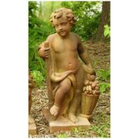 Harvest Cherub 36in. Fiber Stone Resin Indoor/Outdoor Garden Statue
