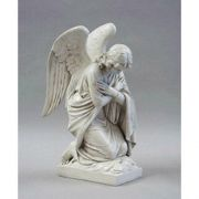 Kneeling Angel Arms Crossed Fiberglass Indoor/Outdoor Statue