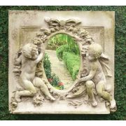 LaBelle Demoiselle Cherub Plaque w/Mirror - Stone -