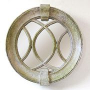 Laced Round Frame Mirror Fiber Stone Resin Outdoor Wall Mount Statue