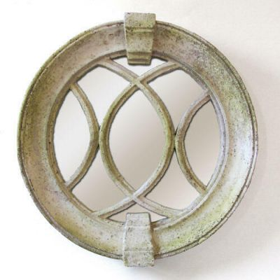 Laced Round Frame Mirror Fiber Stone Resin Outdoor Wall Mount Statue -  - FS8679M