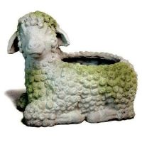 Lamb Planter Fiber Stone Resin Indoor/Outdoor Garden Statue/Sculpture