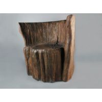 Log Chair 30in. Fiber Stone Resin Indoor/Outdoor Statue/Sculpture