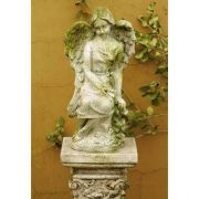 Lulu Angel 15in. - Fiber Stone Resin - Indoor/Outdoor Garden Statue
