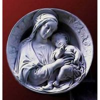 Madonna And Child Round Plaque Fiberglass Resin Indoor/Outdoor Statue