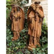 Majestic Angel Guard Set 27in. - Fiber Stone Resin - Outdoor Statue