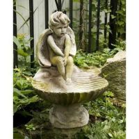 Meditating Birdbath 17in. - Fiber Stone Resin - Indoor/Outdoor Statue